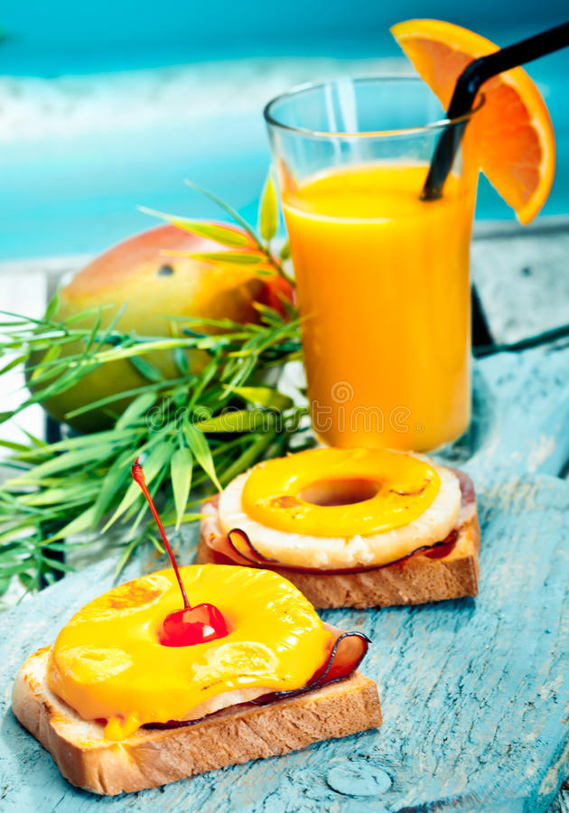 Colourful healthy tropical lunch stock image