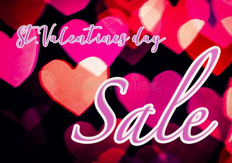 Colourful heart sale flyer. Pink and magenta colourful heart bokeh background with lettering St.Valentine`s day Sale. A5 flyer template royalty free stock photo