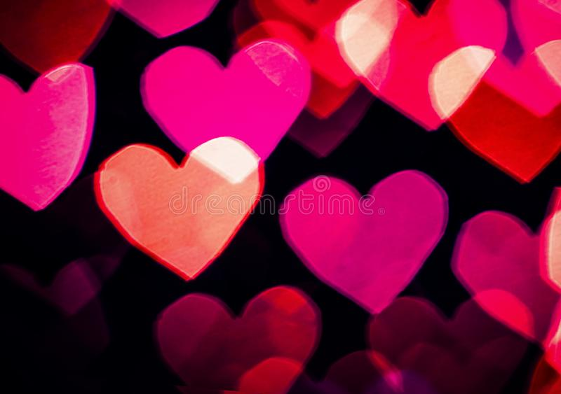 Colourful heart sale flyer. Pink and magenta colourful heart bokeh background A5 flyer template stock photography