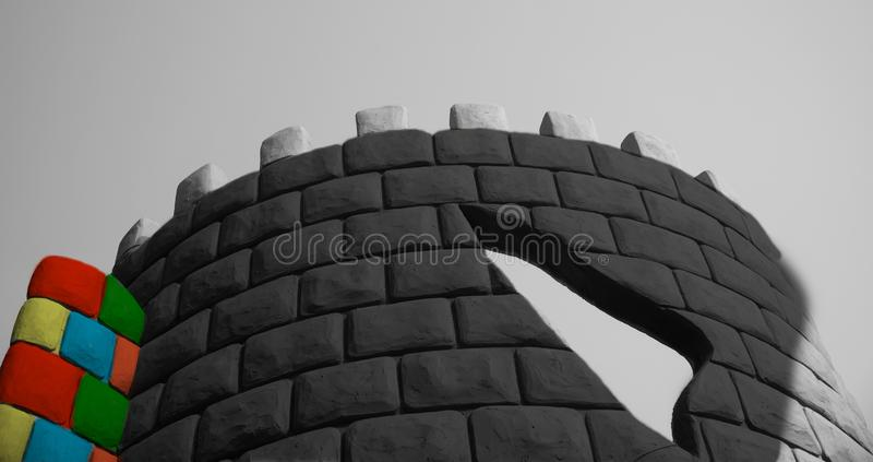 Colourful high concrete structures around a park in Kolkata royalty free stock image