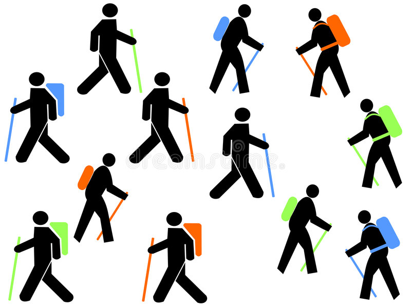 Colourful Hikers Royalty Free Stock Image