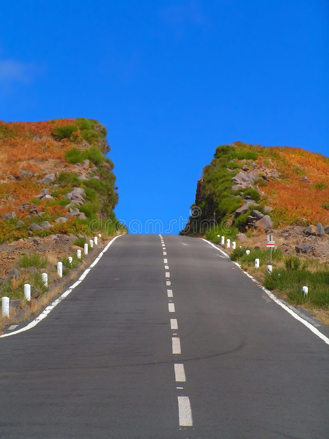 Download The Colourful Hill Deeply Cut By The Road. Madeira Stock Photo - Image: 5263576