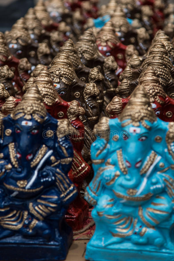 Colourful Hindu god named Ganapati for sell in the market at Chidambaram,Tamilnadu,India. stock photos
