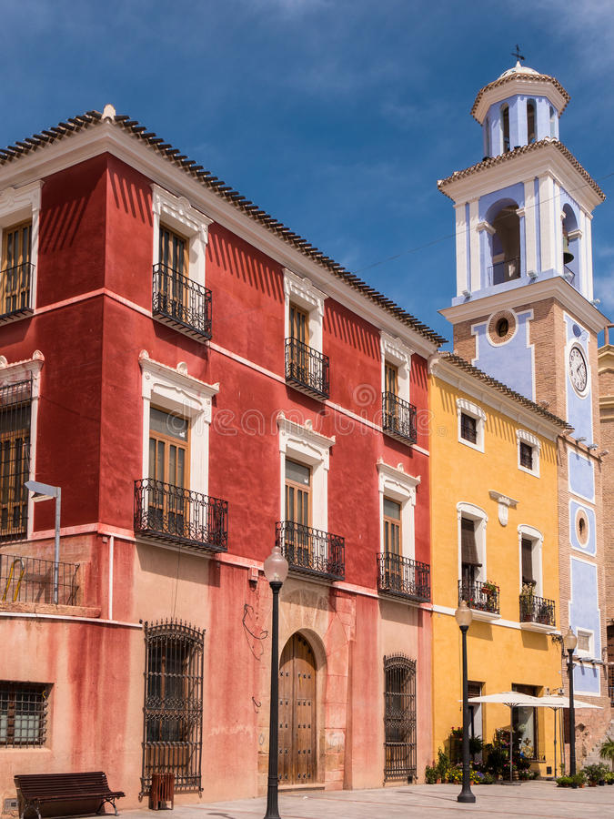 Colourful Historic Buildings in Mula, Spain stock images