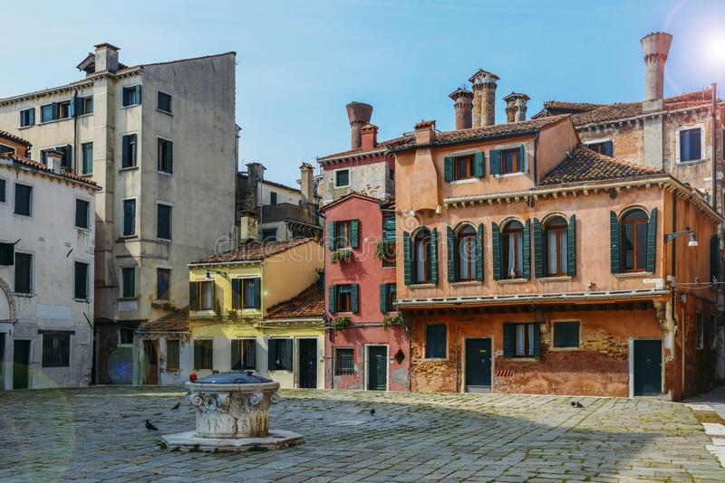 Colourful and historic houses at the Campo della Maddalena in Venice, Italy, with a variety of shapes and sizes royalty free stock photos