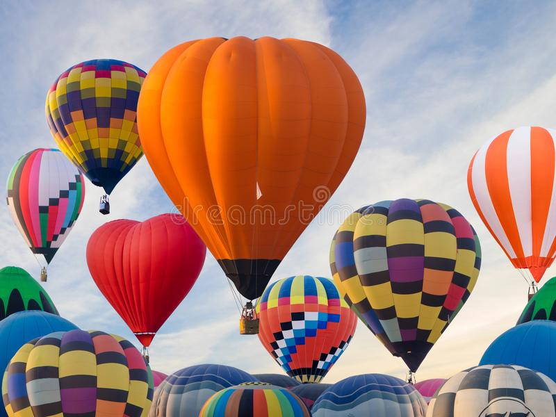 Colourful hot air balloons flying at Singh Park in Chiang Rai. Thailand stock images