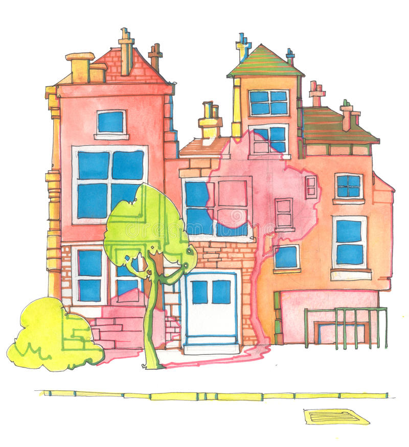 Colourful House Silhouettes Clip Art Stock Illustration
