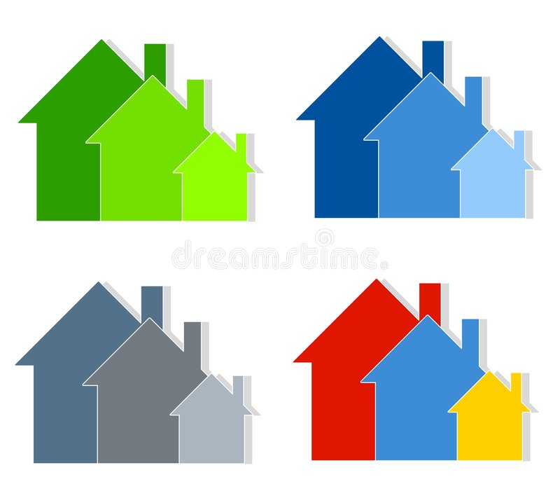 Colourful House Silhouettes Clip Art Stock Image