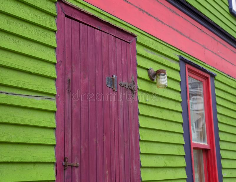 Colourful house in st johns Newfoundland. Colorful wooden shingles on a  house in st johns Newfoundland stock photography