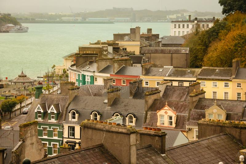 Colourful houses . Cobh. Ireland. View of the town from the top of the hill. Cobh. Ireland stock photography