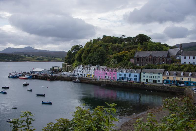 Colourful houses by the harbour at Portree stock photography