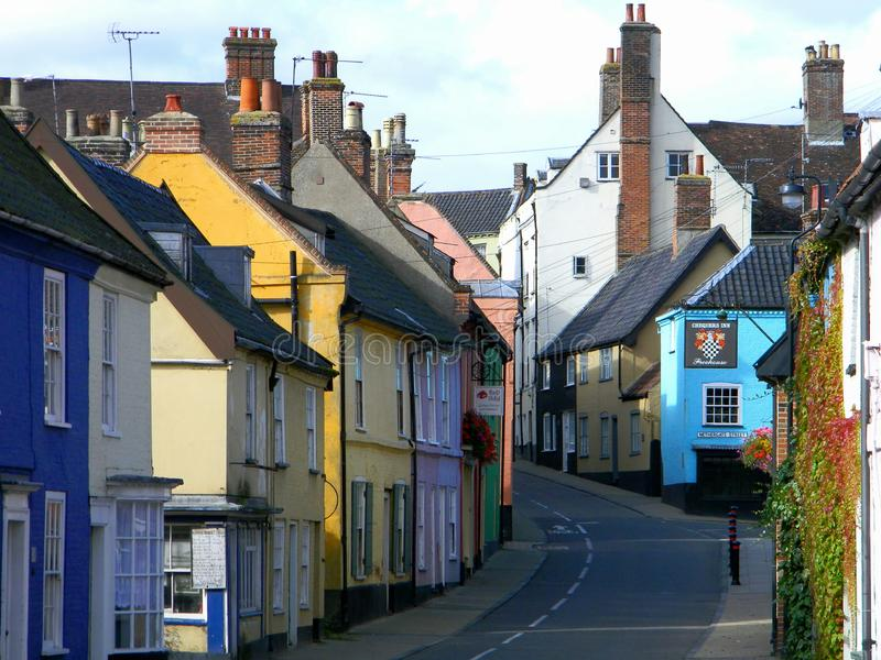 Bridge Street Bungay Suffolk United Kingdom. Colourful houses and shops Bridge Street Bungay Suffolk United Kingdom stock photo