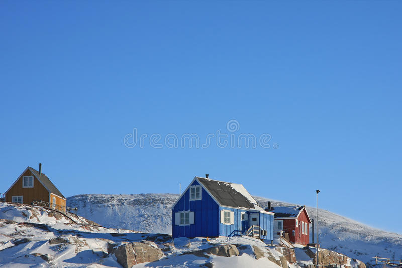 Colourful houses in small Greenlandic village royalty free stock photos