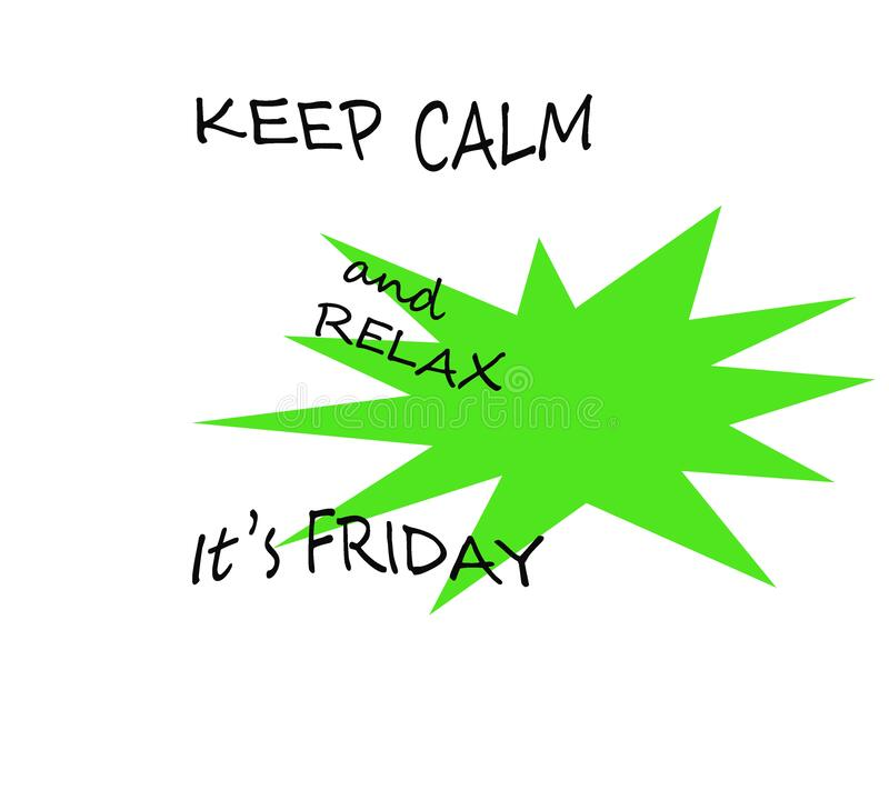 Colourful illustration of a white board and Happy Weekend note. It`s Friday on fluorescent green and white background. Happy, jubilant, euphoric, excited, glad stock illustration