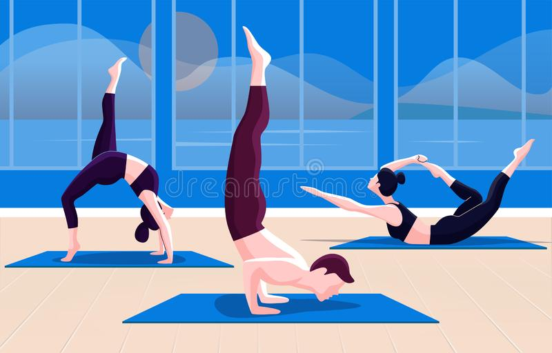 Flat vector illustration of yoga stock illustration