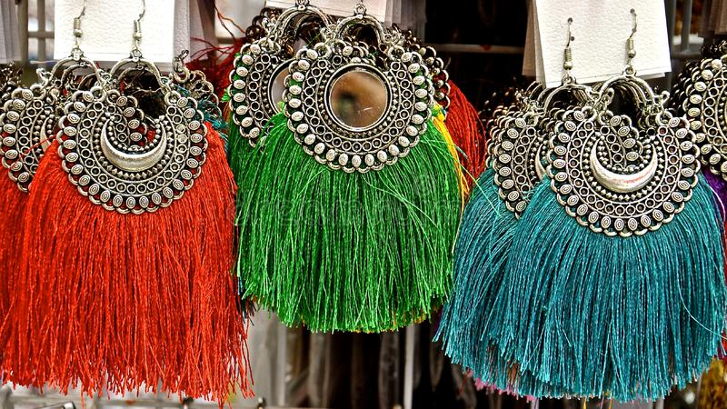 Colourful Indian earrings royalty free stock images