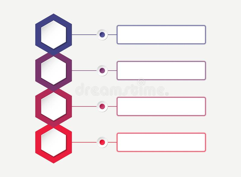 Colourful infographic template with four hexagons. process chart vector illustration