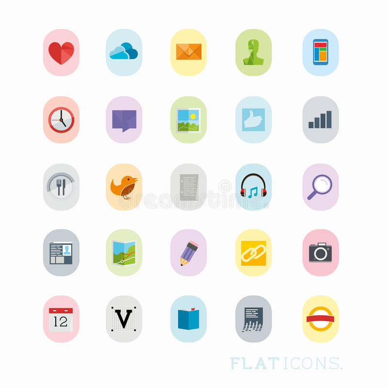 Colourful interfejs ikony ilustracji