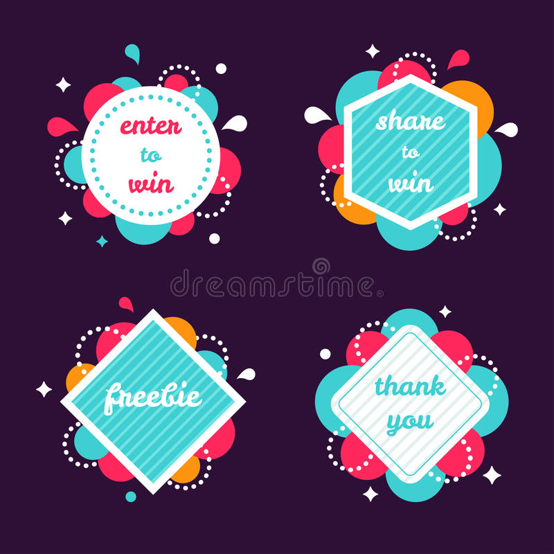 Colourful Internet Banners Templates Set. Colourful Internet Banners Set. Enter to Win, Share to Win, Freebie, Thank You Vector Banners vector illustration
