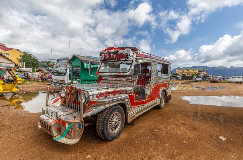 Colourful Jeepney at the harbour of Coron. Jeepneys are widely regarded as a symbol of Philippine art and culture. But unlike the tricycle they are rarely seen royalty free stock photos