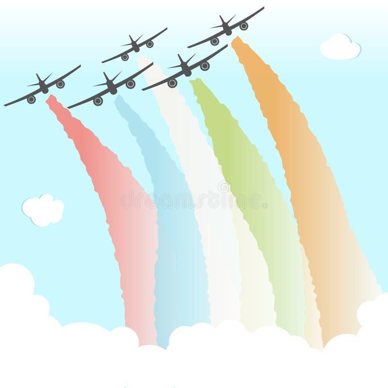 Colourful Joy Peace Plane Cloud Rainbow Design Freedom Vector Illustration vector illustration