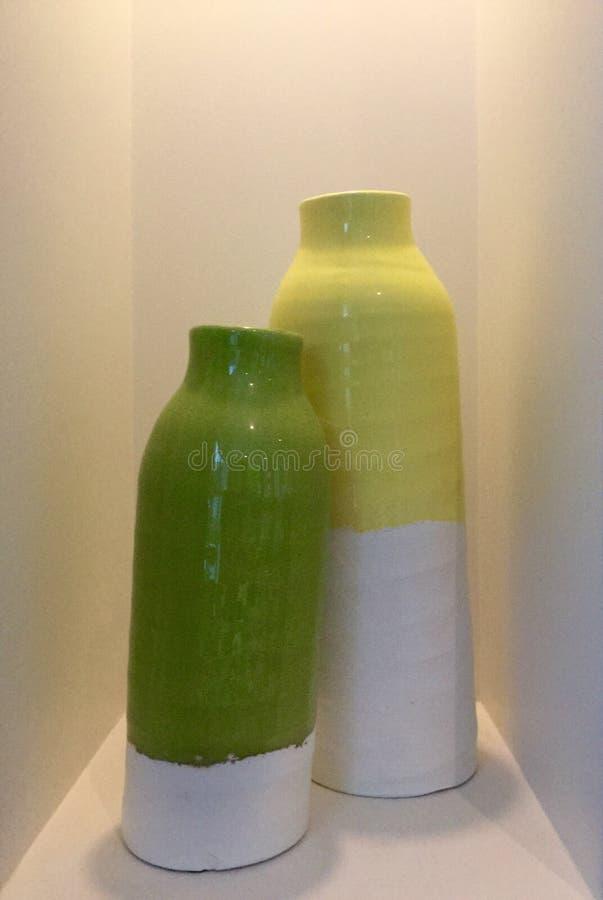 Colourful jugs stock image