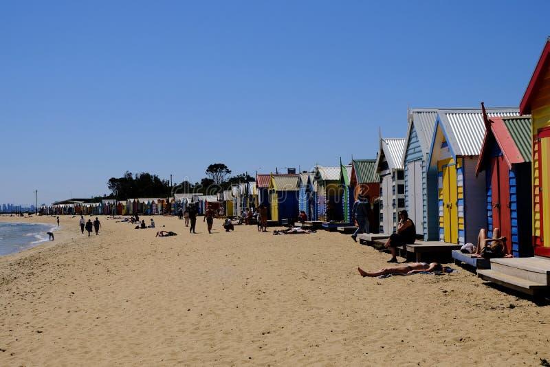 Colourful kąpań pudełka w Brighton plaży, Melbourne, Australia obrazy stock