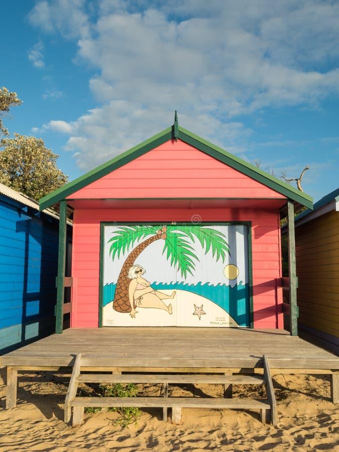 Colourful kąpanie boksuje w Mornington na Mornington półwysepie obrazy stock