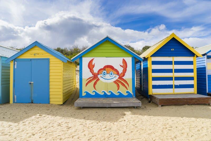 Colourful kąpanie domy przy Dendy ulicy plażą, Brighton w Melbourne fotografia royalty free