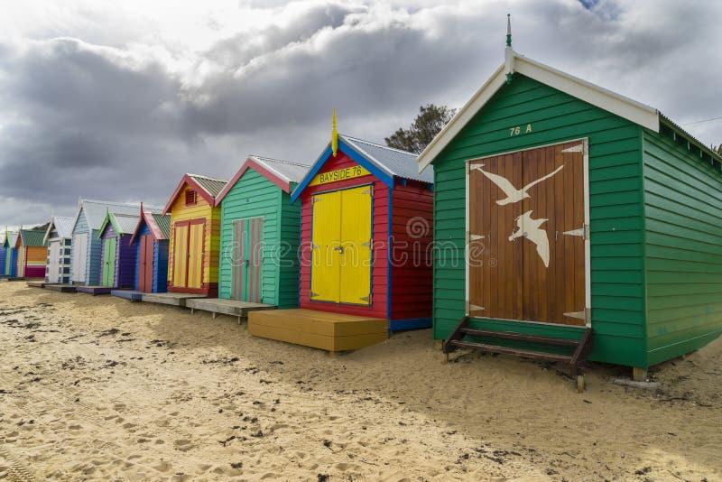 Colourful kąpanie domy przy Dendy ulicy plażą, Brighton w Melbourne zdjęcia royalty free