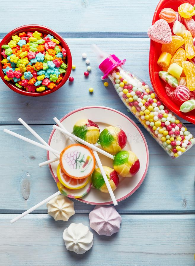 Colourful kids party sweets, lollipops and candy royalty free stock image