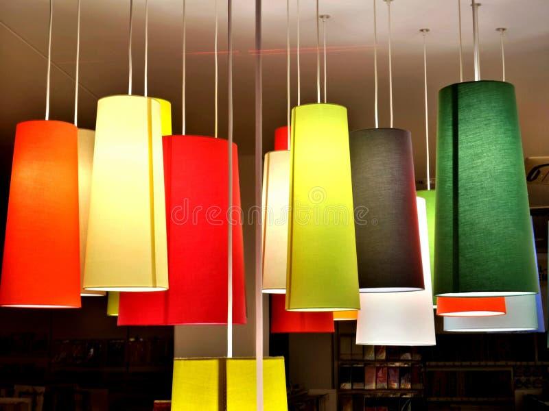Colourful lampe. Mannheim, Germany. Hallowen night stock photo