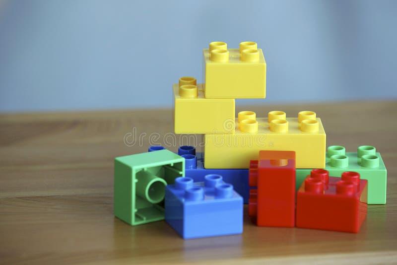 Colourful Lego Bricks On Wooden Background Stock Image - Image of ...