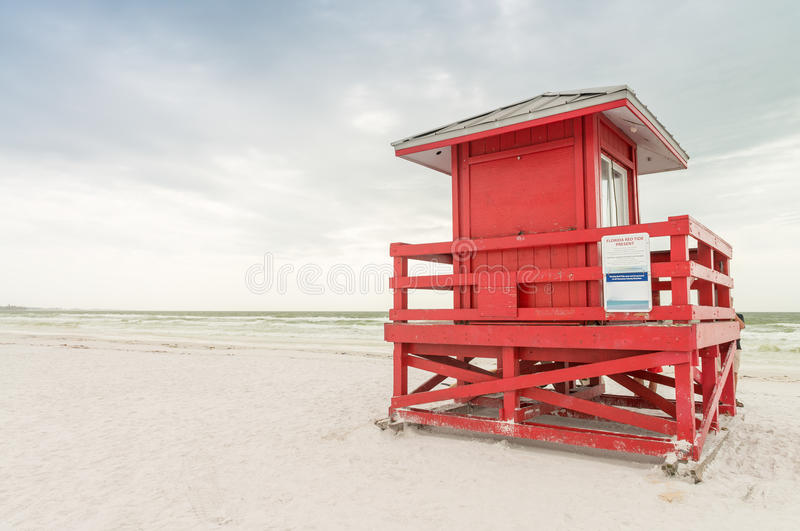 Colourful lifeguard house on the beach royalty free stock photo