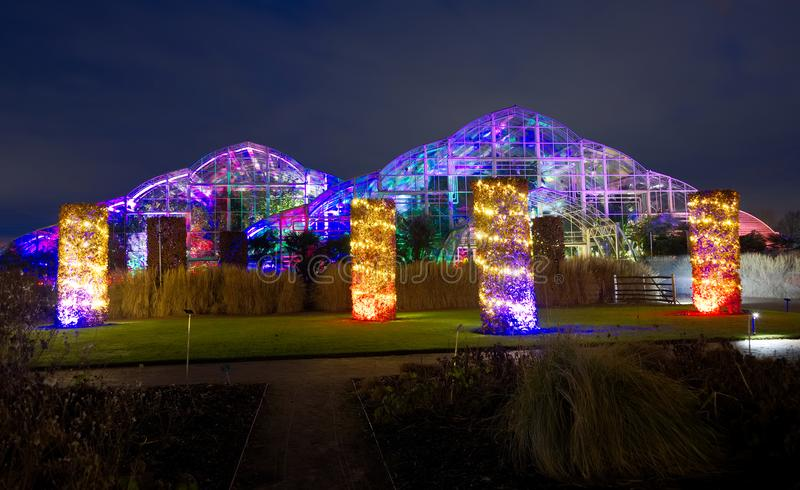 Colourful lights illuminate the glasshouse at Wisley, Surrey. The glasshouse at Wisley, decorated with glowing brightly coloured lights for the Christmas period stock image
