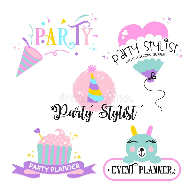 Colourful logo set for party planner and party organizer royalty free stock image