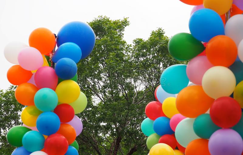 Colourful Balloons. Colourful long balloons of many colours stock photos