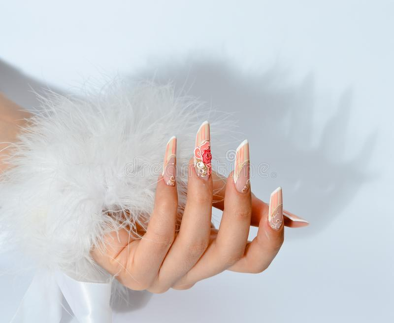 French manicure uv nails style stock image