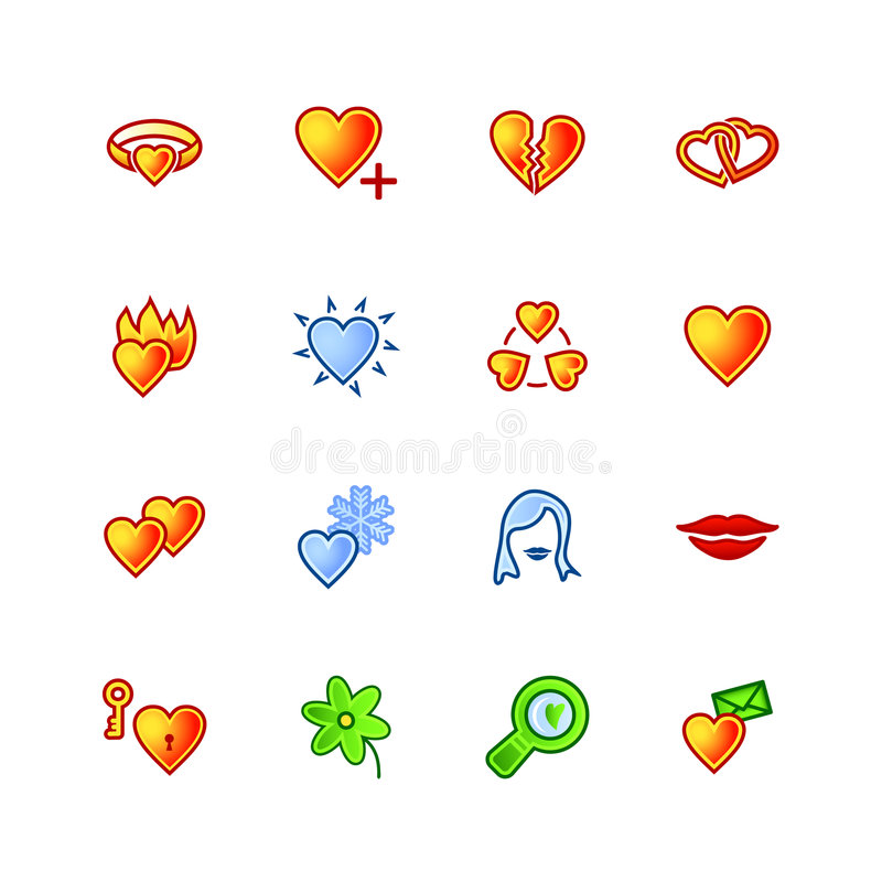 Download Colourful love icons stock vector. Image of site, interface - 2199070