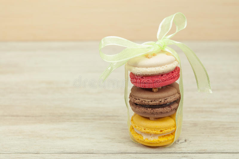 Colourful macaron on table. royalty free stock photo