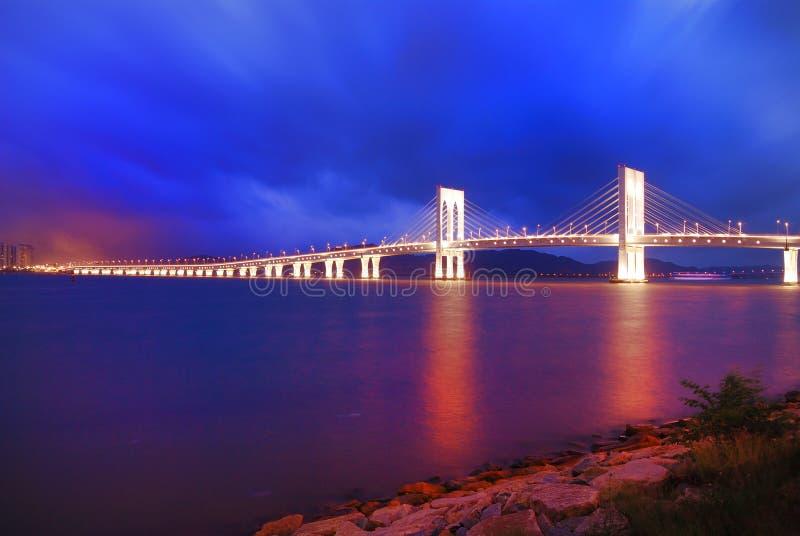 Colourful Macau pejzaż miejski most fotografia stock