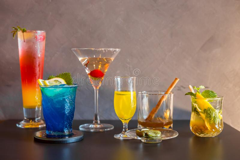 Colourful of many cocktail in wine glass royalty free stock images