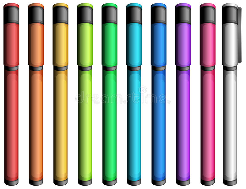 Colourful markers. Ten colourful markers on a white background royalty free illustration
