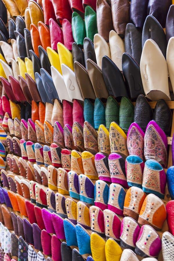 Colourful Marokańscy kapcie, Marrakesh obraz stock