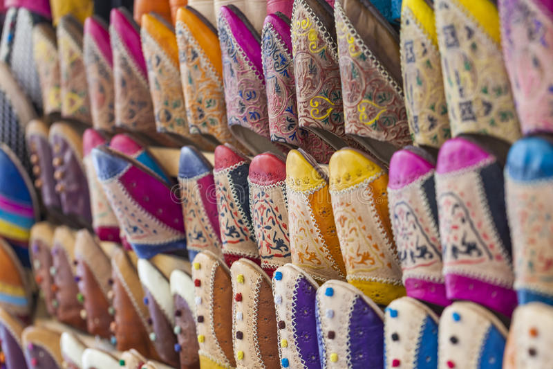 Colourful Marokańscy kapcie, Marrakesh zdjęcia stock