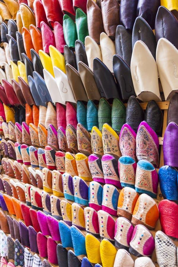 Colourful Marokańscy kapcie, Marrakesh fotografia royalty free