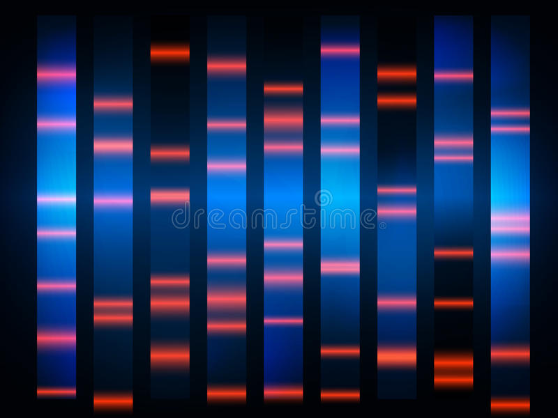 Colourful medical dna results with black background. Eps 10 illustration royalty free illustration