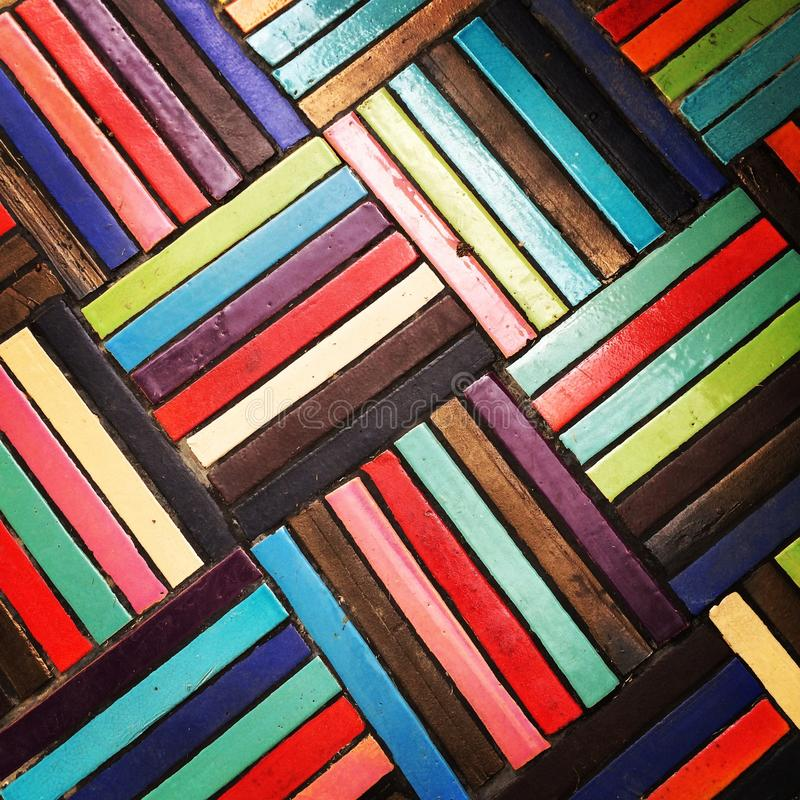 Colourful mosaic floor. In the factory stock photo