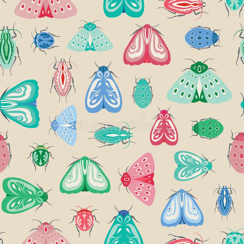 Colourful moths and beetles seamless repeat pattern. A vector design of insects and bugs. stock illustration