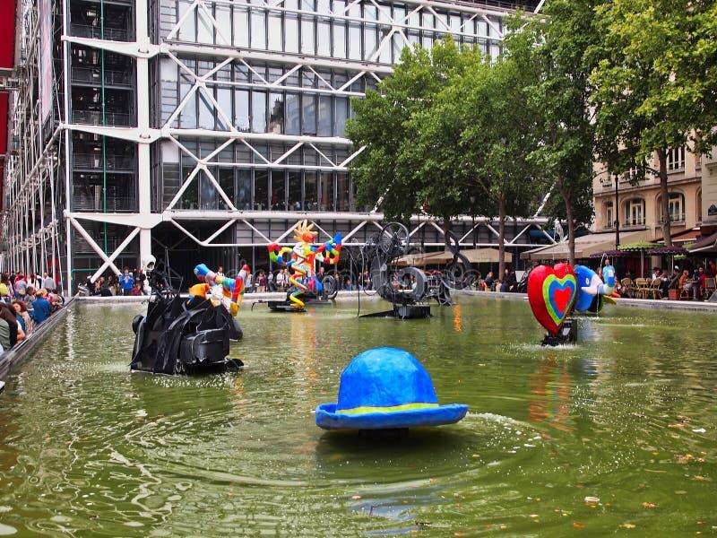 Colourful Nowożytne rzeźby, Stravinsky fontanna, Paryż, Francja zdjęcia royalty free